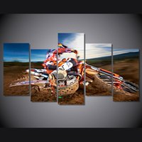 Wholesale Landscape Poster Paints - 5 Pcs Set Framed HD Printed Motocross Sports Picture Wall Art Canvas Print Room Decor Poster Canvas Painting Wall