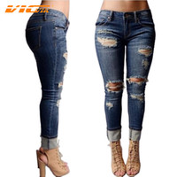 Wholesale Womens Pants Large - Wholesale- VICVIK Brand Ripped Jeans for Women Boyfriend Jeans 2016 Female Hole Pants Skinny Jeans with Holes Women Denim Large Size Womens