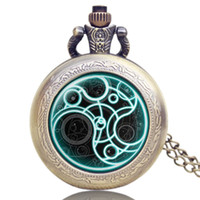 Wholesale Chain Watches For Men - Wholesale-Bronze Doctor Who Theme Desgin Pocket Watch With Necklace Chain For Men And Women Old Antique Gift