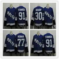 Wholesale Bolt Red - 2017 Tampa Bay Lightning Bolts Jerseys Hockey 91 Steven Stamkos 77 Victor Hedman 30 Ben Bishop Blue White Alternate Premier Jersey Good