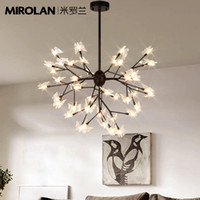 Wholesale Led Butterfly Tree - Wholesale- chandelier Modern Bronze PMMA Transparent Tree Leaf Firefly butterfly LED Chandelier for Dinging