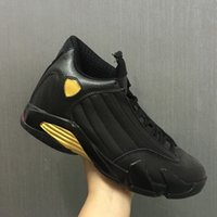 Wholesale Basketball C - New 14 XIV DMP Black Metallic Gold men Basketball Shoes fashion 14S Sports Shoes With Shoes Box size 8-12