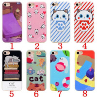 Wholesale Dark Purple Bedding - Soft TPU IMD Case For Iphone 7 Plus 6 6S 6Plus 7Plus Cute Cartoon Dolphin Sea lions Panda Cat Bed Colorful Silicone Cell Phone Cover Skin