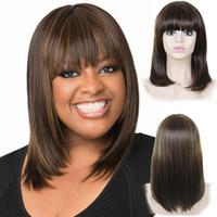 kahverengi sarışın saç stilleri toptan satış-Bang Düz Kahverengi Sarışın Sentetik Saç peruk 14 inç Isıya Dayanıklı Sentetik Peruk Avrupa Amerikan Popüler Tarzı