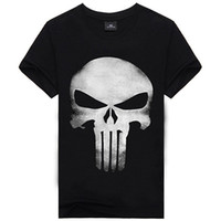 Wholesale T Shirts Skull Men Wholesale - Wholesale- 2016 New Product The Punisher Movie Skull Logo Black Mens T-Shirts Tee