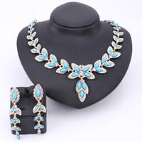 brincos colar de pérolas azuis venda por atacado-Acessórios de moda festa simulado pérola azul conjuntos de jóias de cristal para as mulheres declaração de contas africanas colar brincos