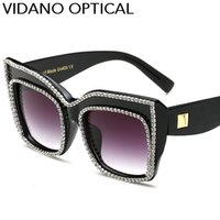 Wholesale Crystal Glass Gift - Vidano Optical Limited Edition Luxury Crystal Diamond Sunglasses For Women Valentine Gift Latest Designer Fashion Cat Eye Sun Glasses UV400