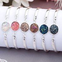 Wholesale Druzy Bracelets - Druzy Bracelet Resin Druzy Silver Gold Bangles for Women Jewelry Display