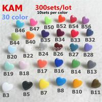 Wholesale Plastic Snap Buttons Fasteners - Wholesale-( 30 color ) 300sets T5 Size 20 Heart Shape Original Glossy KAM Brand Plastic Snap Button Snaps Fastener