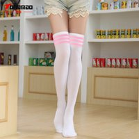 Wholesale Three Stripe Socks Wholesale - Wholesale- New Autumn And Winter Fashion Sexy Was Thin Three Stripes on Cotton Knee Stockings Student Bottoming stockings High stockings