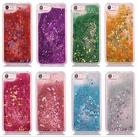 iphone fall flüssiges wasser großhandel-Dynamische flüssige glitter wasser sterne blitz funkelnden case abdeckung für iphone 5 6s 7 7 plus samsung s6 edge s7