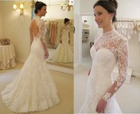 Wholesale Victorian Collar Ruffle - 2017 new high neck mermaid Sheath modest backless victorian wedding dresses long sleeves full lace 12y country wedding dresses from china