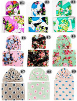 casquillos de la flor del bebé gorras al por mayor-INS Infant Baby Swaddle Sack Baby Girl Rose Flor manta Bebé recién nacido Suave algodón Cocoon Sleep Sack Con nudo Diadema Cap sombreros conjunto