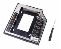 адаптер hdd caddy bay оптовых-Сеть алюминиевый пластик 2.5 2-й 9.5 мм Ssd Hd SATA жесткий диск HDD Caddy адаптер Drive Bay для Cd Dvd Rom оптический залив