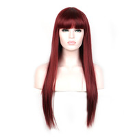 WoodFestival long straight hair wigs heat resistant synthetic fiber burgundy black brown flax wig with bangs 70cm realistic sof women