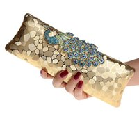 Wholesale Evening Peacock Clutch Handbags - Wholesale-Factory New Style Women's Peacock Evening Clutch Bag Purse Print Dot Clutch Handbag Black Gold Silver Party Dinner Purse 1802K