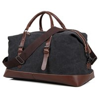 Wholesale Mens Vintage Retro Canvas high Capacity Bag Fashion Casual Bag lightweight Travel Bag with Genuine Leather Black and Coffee Color
