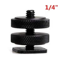 "Wholesale Flash Hot Shoe Adapter - 1 4"" Tripod Mount Screw with Double Layer for Flash Hot Shoe Adapter Holder Mount Photo Studio Accessories"