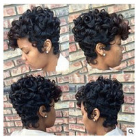 Wholesale top quality human hair curly wigs resale online - Xiu Zhi Mei Top Quality Short Cut Kinky Curly Wig Simulation Human Hair Full Wigs short bob curly full wig with bangs for black women