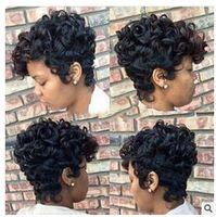 Wholesale Top Hair Bangs - Xiu Zhi Mei Top Quality Short Cut Kinky Curly Wig Simulation Human Hair Full Wigs short bob curly full wig with bangs for black women