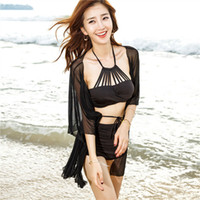 Wholesale Cover Chest - Separate Swimsuit Free Size For 80-120g Swimwear Bikini Three-piece Skirt Cover Obscure Thin Conservative Small Chest Gathered