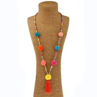 Beads Chain Hairball Pompous Tassel Boho Chokers Colar Bohemian Fashion Colourful Long Statement Colares para Mulheres Jewerly Atacado