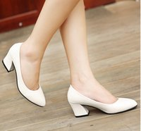 Wholesale Sexy Shoes For Ladies - New 2017 Women's High Heels Pumps Sexy Bride Party Thick Heel Round Toe Full Grain leather High Heel Shoes for office lady Women