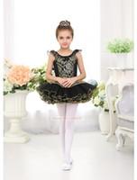 Wholesale 4t Dance Skirts - Ballet Tutu Dancing wear Girls High Quality Children's Ballet Dance Skirt Black Lace Swan Professional Dancing Ballet Tutu