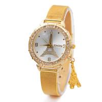 Wholesale Watch Paris - Watches for Women Metal Case with Rhinestones Paris Eiffel tower Pendant Watch Quartz Movement Alloy Band