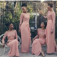 islamische hijab moslemische brautkleider großhandel-Afrikanische Langarm Muslim Hochzeit Chiffon Brautjungfernkleider Spitze Appliques Perlen Hijab Trauzeugin Kleider Islamische Koralle