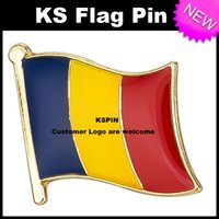 Wholesale Wholesale Romania - Romania Flag Badge Flag Pin 10pcs a lot Free Shipping