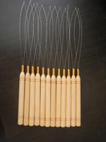 saç döngüleri toptan satış-Paslanmaz Çelik Tel Döngü Ile İğneler Çekerek Ahşap Saplı Mikro Boncuk Saç Uzantıları Için Dişli Araçları Kiti Çekerek Toptan İğneler