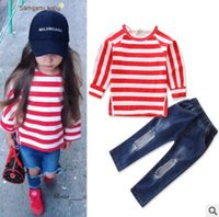 Wholesale Kids Girl Ripped Jeans - Ins Girls Outfits for Baby Girls Clothing Sets Pink Striped Shirt Tops Ripped Jeans 2 Piece Outfits Kids Clothing Toddler Baby Clothes 1-6Y
