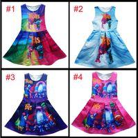 Wholesale patchwork print chiffon dress - New 4 colors baby girls Trolls Pleated dress cartoon Trolls printing Princess sleeveless dresses Kids Clothing