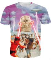 Wholesale Women Short Destroyed - The Kitten No One Loved T-Shirt Killer Kitty Alongside UFOs Destroying Hilarious Sci-fi T Shirt 3d Tees for Unisex Women Men