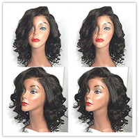 Wholesale Short Sexy Wig - Sexy Cheap Natural Looking Black Short Curly Wigs for Black Women Heat Resistant Synthetic Lace Front Wigs with Baby Hair High Quality