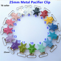 Wholesale Metal Suspender Clips Plastic - Wholesale-50pcs lot 1''25mm Star metal baby dummy pacifier holder chain clips suspender soother plastic insert clips LEAD NICKLE Free