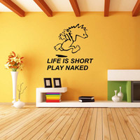 Wholesale Abstract Naked - Hot Sale For Life Is Short Play Naked Vinyl Removable Decal Personality Wall Stickers Bedroom Sitting Room Diy Decor