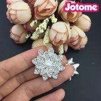 Wholesale Wholesale Sew Flower Embellishments - Rhinestone and Pearl DIY Flower Embellishments Buttons brooch - Sew on Wedding Dresses Wedding Favors (Beige+Silver)