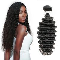 Wholesale Russian Curly Virgin Hair - 3 Bundles Brazilian Deep Wave Virgin Hair Weave Bundles Unprocessed Deep Curly Human Hair Natural Brown Peruvian Malaysian Raw Indian Hair