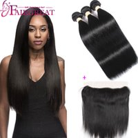 Wholesale Brazilian Straight Closures - Lace Frontal Closure With Brazilian Human hair Wefts 3Bundles Brazilian Straight Human Hair Products With Lace Frontal closure Top Quality