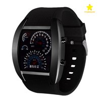 Wholesale Best Price LED Watch Dashboard Aviation Men Sport Fashion Wristwatches For Like Auto Meter Silicone Battery Glass Watch