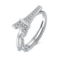 Unique Design Luxury Noble Eiffel Tower 925 Sterling Silver Ring Opening Wedding Engagement Anniversario Regali di partito per le donne Ladies Girls