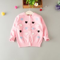 Wholesale Girl Love Cardigan - Everweekend Girls Love Embroidered Knitted Sweater Cardigans Spring Fall Candy Color Cute Children Baby Fashion Outwears