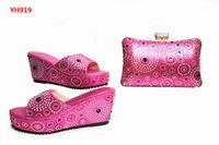 Ultimas Sapatilhas e Saco Africano Set Women Heels Bolsa de correspondência para casamento Top Quality Matching Shoes And Bag Pink Color