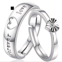Wholesale Couple Rings Swiss Diamond - 2pcs Set Top Quality Couple Rings Heart Shape Adjustable Swiss Diamond 925 Sterling Silver Jewelry for Men and Women