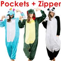 Wholesale Panda Shirts For Women - Adult Onesie Pajamas Sets Dinosaur Unicorn Onesies for Women Men Children Kids Teens Girls Boys Panda Flannel Sleepwear Costumes