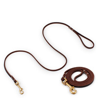 Wholesale Top Dog Leather Collars - New Brand Top quality Genuine leather large dog leash big dogs Copper hook outdoor training leads supplies pet products