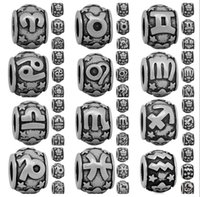 Wholesale Cheap Zodiac Bracelet Charms - New Hot Sale Cheap Price Twelve Zodiac Hole Bead Charm For Making Bracelet And Necklace Jewelry