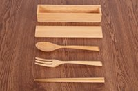 CE / EU outdoor dinner sets - New arrivel portable tableware three piece suit Nature wood chopsticks fork scoop suit dinner set Outdoor pure wooden flatware sets